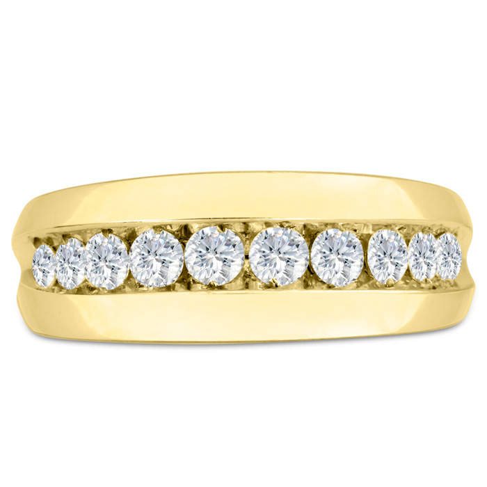 Mens 1 Carat Diamond Wedding Band in 10K Yellow Gold, G-H, I2-I3,