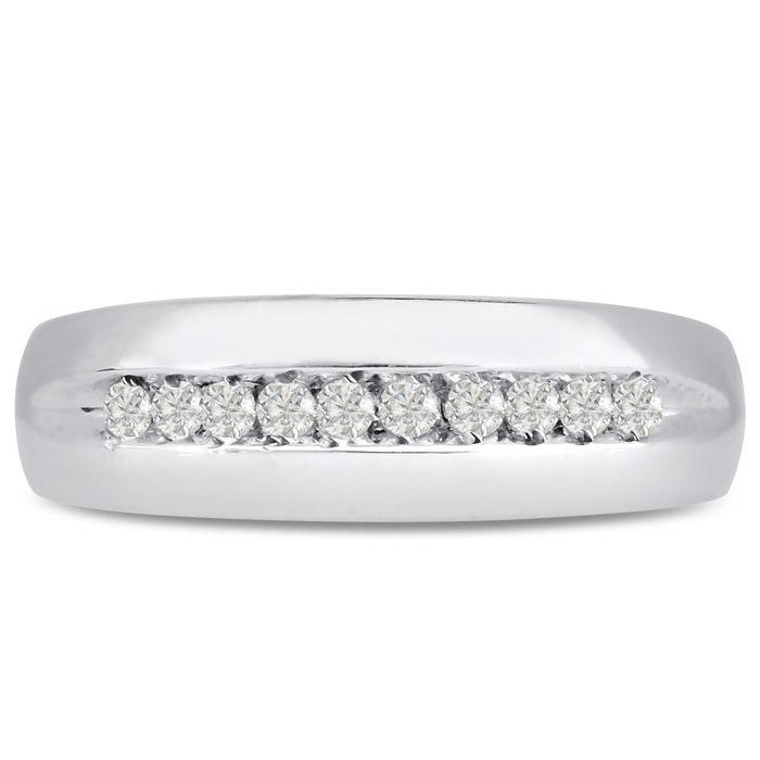 Mens 1/4 Carat Diamond Wedding Band in 10K White Gold, G-H, I2-I3, 6.93mm Wide by SuperJeweler