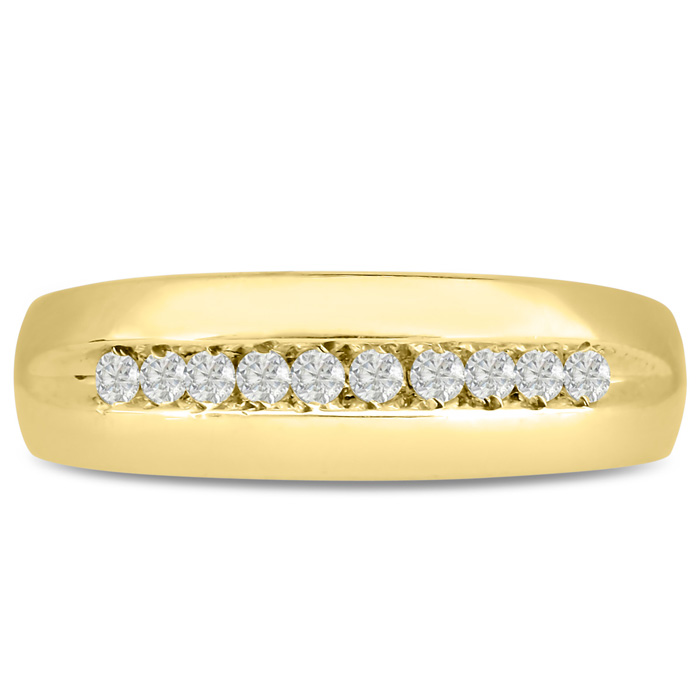 Mens 1/4 Carat Diamond Wedding Band in 10K Yellow Gold, I-J-K, I1-I2, 6.93mm Wide by SuperJeweler