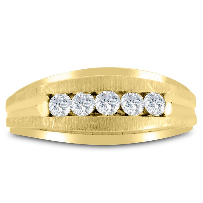 Mens 1/2 Carat Diamond Wedding Band in 10K Yellow Gold, I-J-K, I1-I2, 9.11mm Wide by SuperJeweler