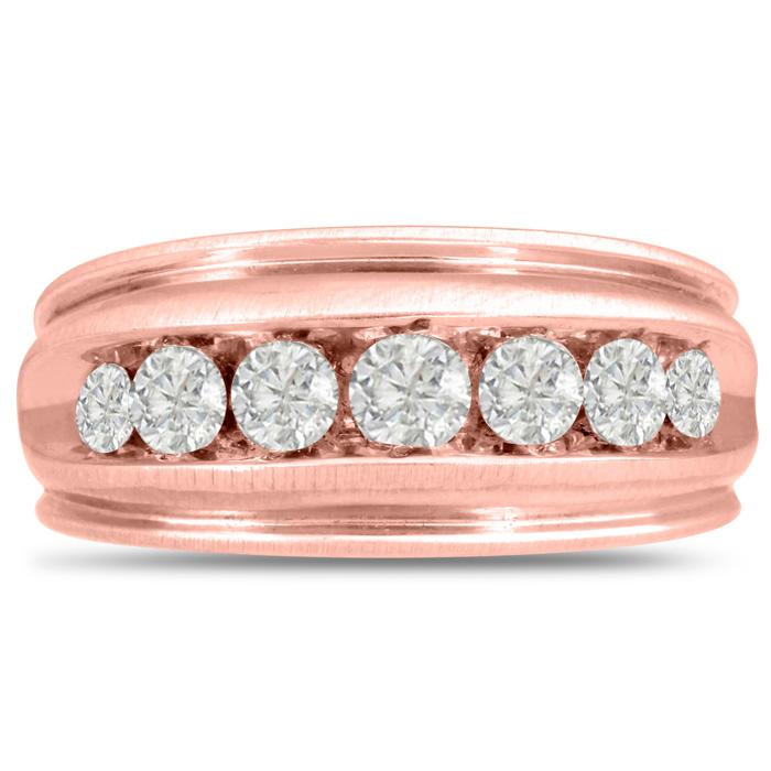 Mens 1 Carat Diamond Wedding Band in 14K Rose Gold, I-J-K, I1-I2,