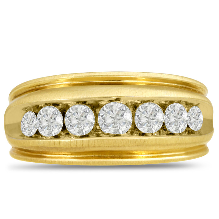 Mens 1 Carat Diamond Wedding Band in 14K Yellow Gold, G-H, I2-I3,