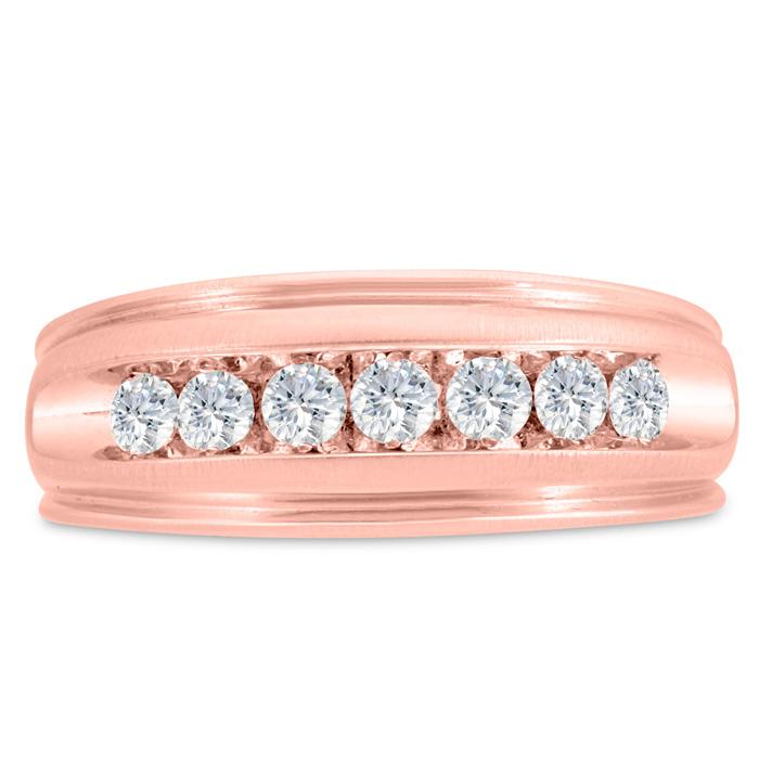 Mens 1/2 Carat Diamond Wedding Band in 10K Rose Gold, G-H, I2-I3, 8.52mm Wide by SuperJeweler