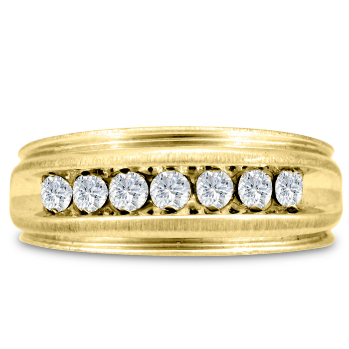 Mens 1/2 Carat Diamond Wedding Band in 10K Yellow Gold, G-H, I2-I3, 8.06mm Wide by SuperJeweler