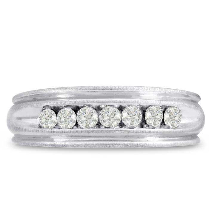 Mens 1/4 Carat Diamond Wedding Band in 14K White Gold, G-H, I2-I3, 6.47mm Wide by SuperJeweler