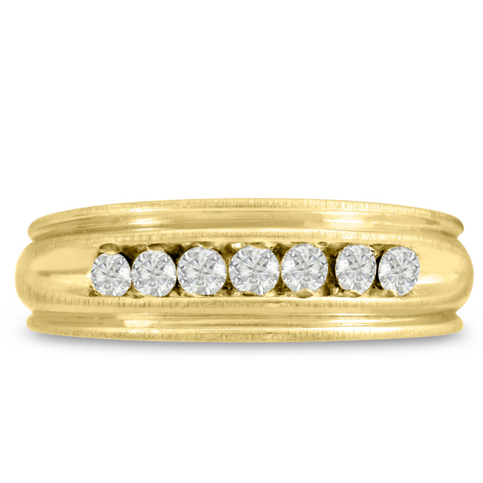 Mens 1/4 Carat Diamond Wedding Band in 14K Yellow Gold, G-H, I2-I3, 6.47mm Wide by SuperJeweler