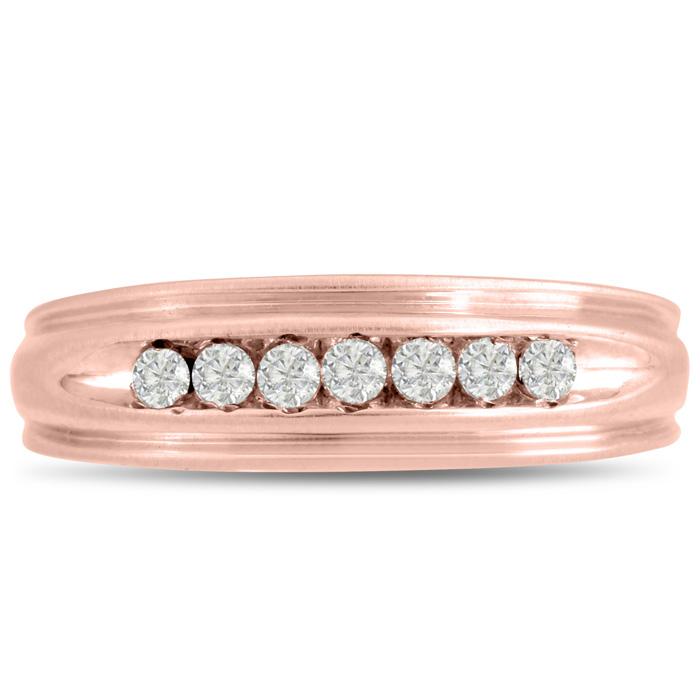 Mens 1/4 Carat Diamond Wedding Band in 10K Rose Gold, G-H, I2-I3, 6.72mm Wide by SuperJeweler