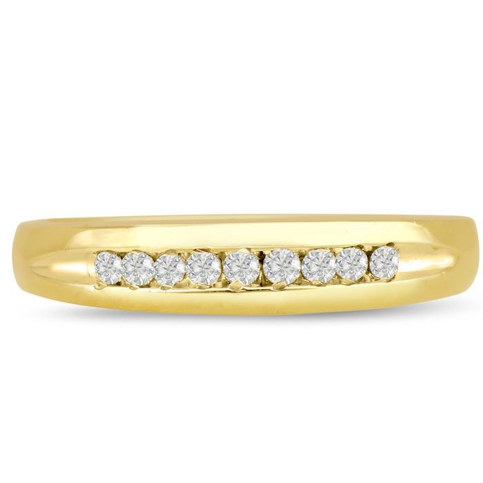 Mens 1/10 Carat Diamond Wedding Band in 10K Yellow Gold, G-H, I2-