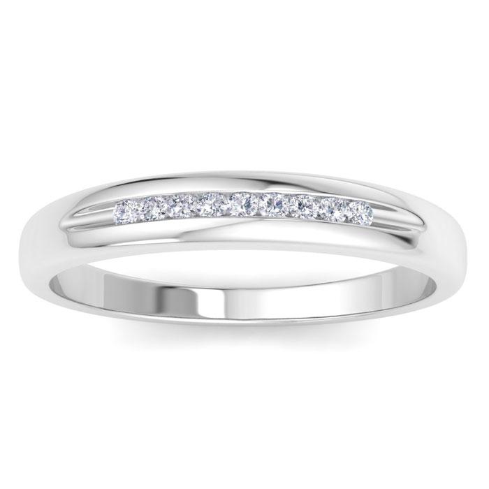 Mens 1/10 Carat Diamond Wedding Band in 14K White Gold, G-H, I2-I3, 4.36mm Wide by SuperJeweler