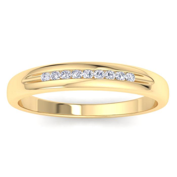 Mens 1/10 Carat Diamond Wedding Band in 14K Yellow Gold, G-H, I2-