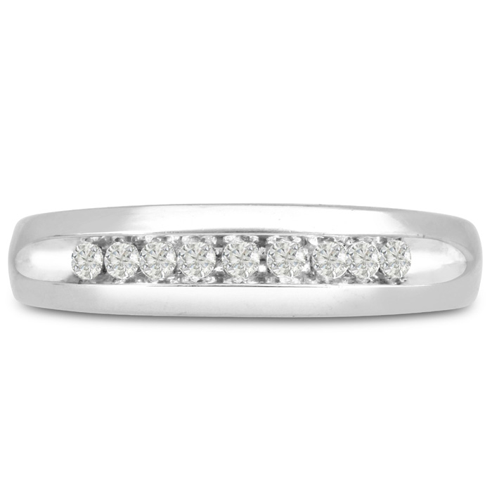 Mens 1/5 Carat Diamond Wedding Band in 10K White Gold, G-H, I2-I3