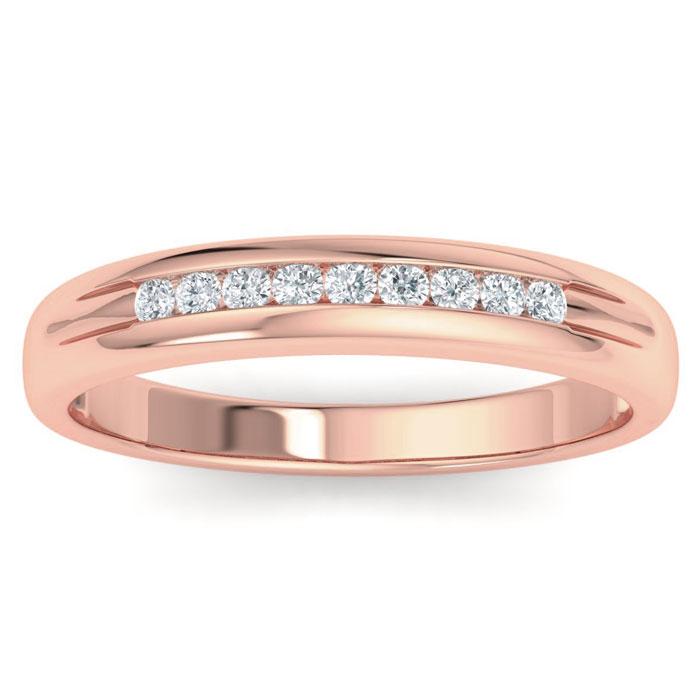 Mens 1/5 Carat Diamond Wedding Band in 14K Rose Gold, G-H, I2-I3, 5.31mm Wide by SuperJeweler