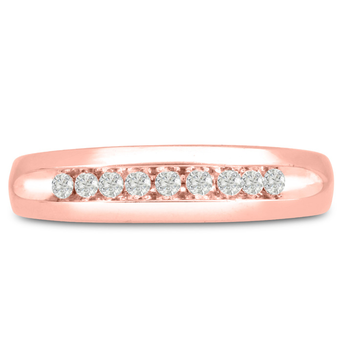 Mens 1/5 Carat Diamond Wedding Band in 14K Rose Gold, I-J-K, I1-I