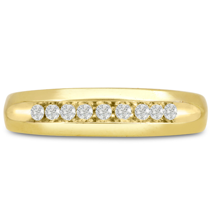 Mens 1/5 Carat Diamond Wedding Band in 14K Yellow Gold, G-H, I2-I