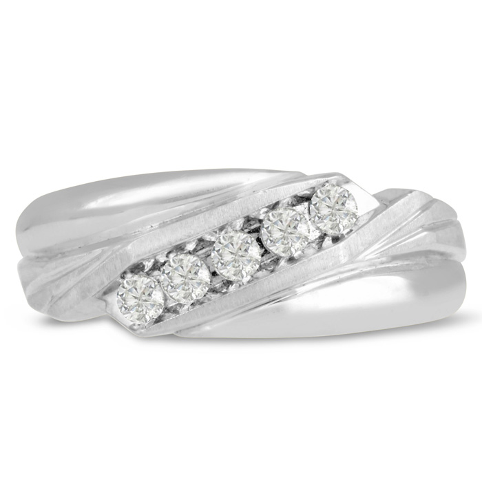 Mens 1/3 Carat Diamond Wedding Band in 10K White Gold, G-H, I2-I3