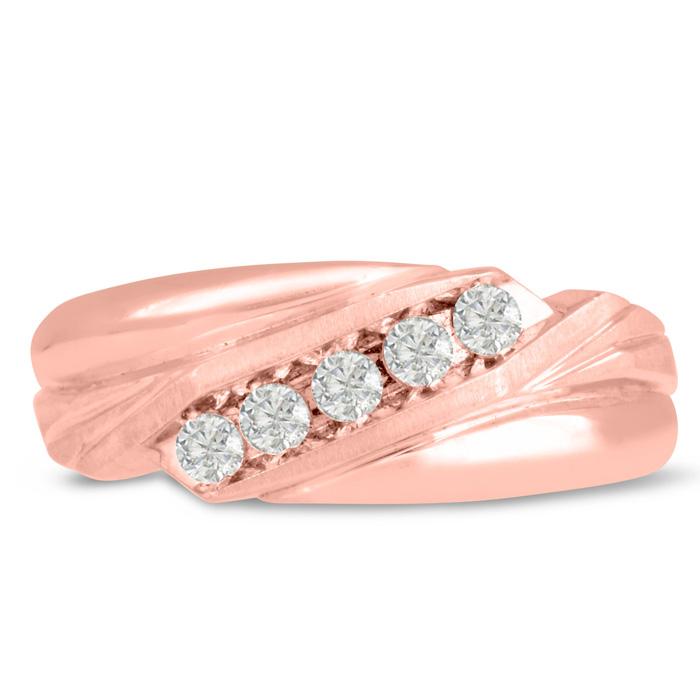 Mens 1/3 Carat Diamond Wedding Band in 14K Rose Gold, I-J-K, I1-I2, 8.47mm Wide by SuperJeweler