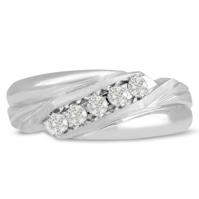 Mens 1/3 Carat Diamond Wedding Band in 14K White Gold, G-H, I2-I3