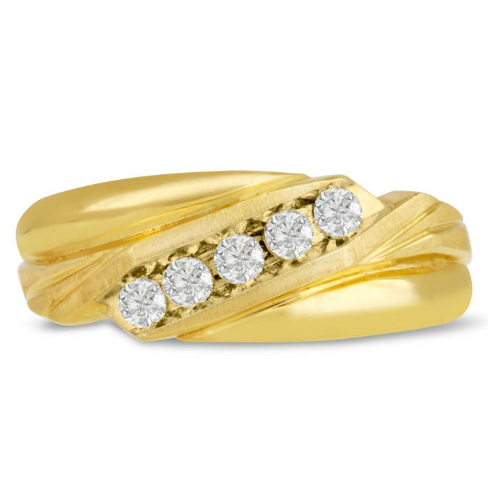 Mens 1/3 Carat Diamond Wedding Band in 14K Yellow Gold, G-H, I2-I