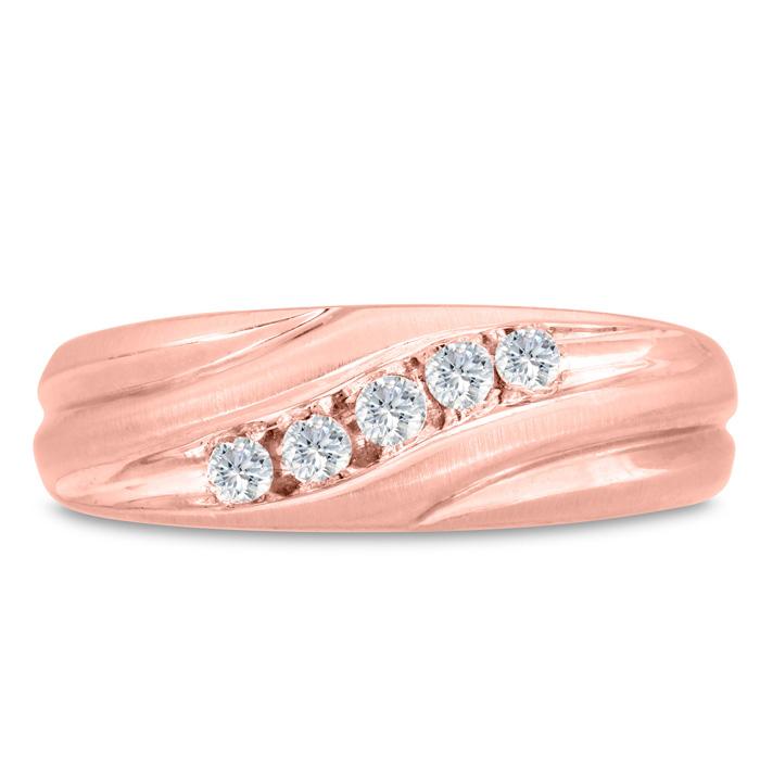 Mens 1/4 Carat Diamond Wedding Band in 14K Rose Gold, G-H, I2-I3,