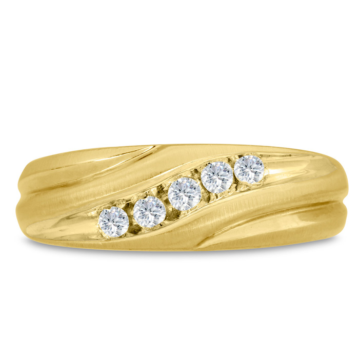 Mens 1/4 Carat Diamond Wedding Band in 14K Yellow Gold, G-H, I2-I