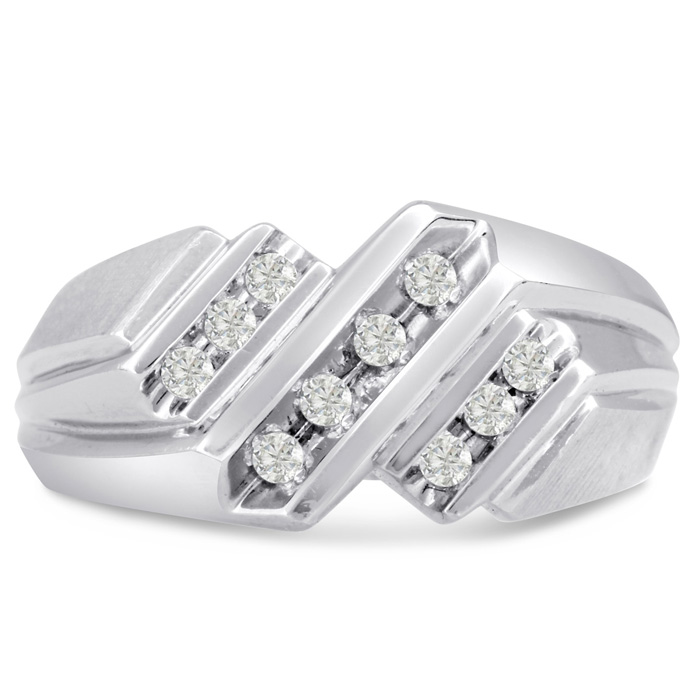 Mens 1/3 Carat Diamond Wedding Band in 10K White Gold, G-H, I2-I3