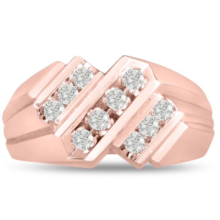 Mens 1/2 Carat Diamond Wedding Band in 10K Rose Gold, G-H, I2-I3, 8.83mm Wide by SuperJeweler