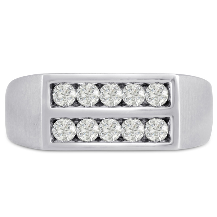 Mens 1/2 Carat Diamond Wedding Band in 10K White Gold, I-J-K, I1-I2, 8.33mm Wide by SuperJeweler