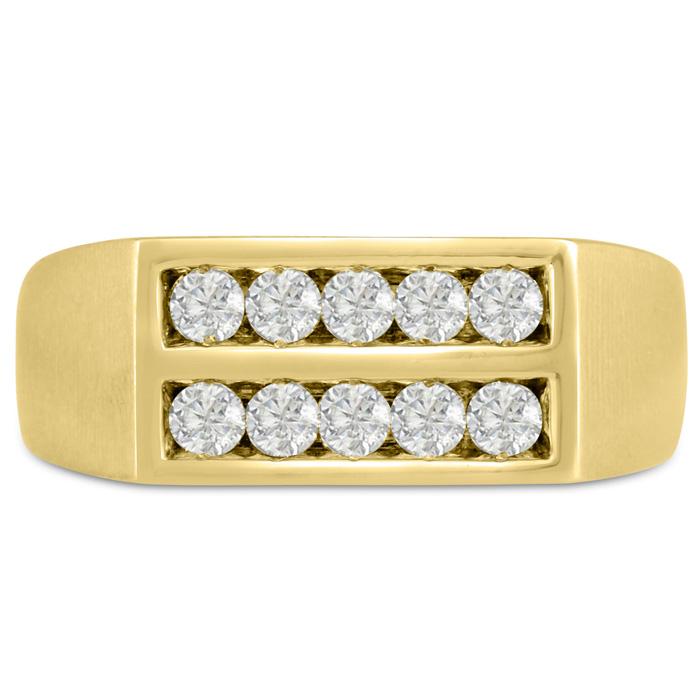Mens 1/2 Carat Diamond Wedding Band in 10K Yellow Gold, G-H, I2-I