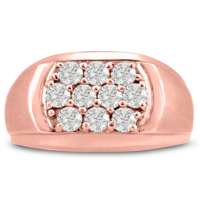 Mens 1 Carat Diamond Wedding Band in 10K Rose Gold, G-H, I2-I3, 9