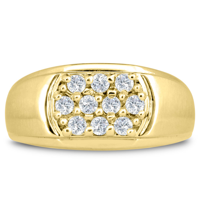 Mens 1/2 Carat Diamond Wedding Band in 10K Yellow Gold, G-H, I2-I3, 10.23mm Wide by SuperJeweler