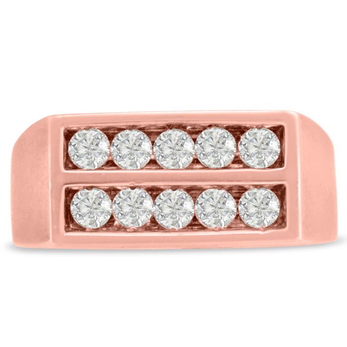 Mens 1 Carat Diamond Wedding Band in 10K Rose Gold, I-J-K, I1-I2,
