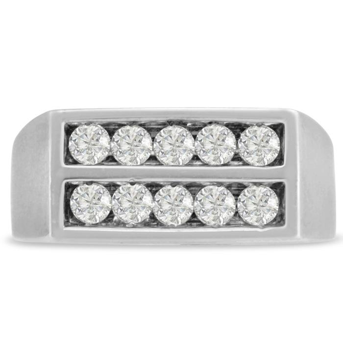 Mens 1 Carat Diamond Wedding Band in 14K White Gold, I-J-K, I1-I2, 9.42mm Wide by SuperJeweler