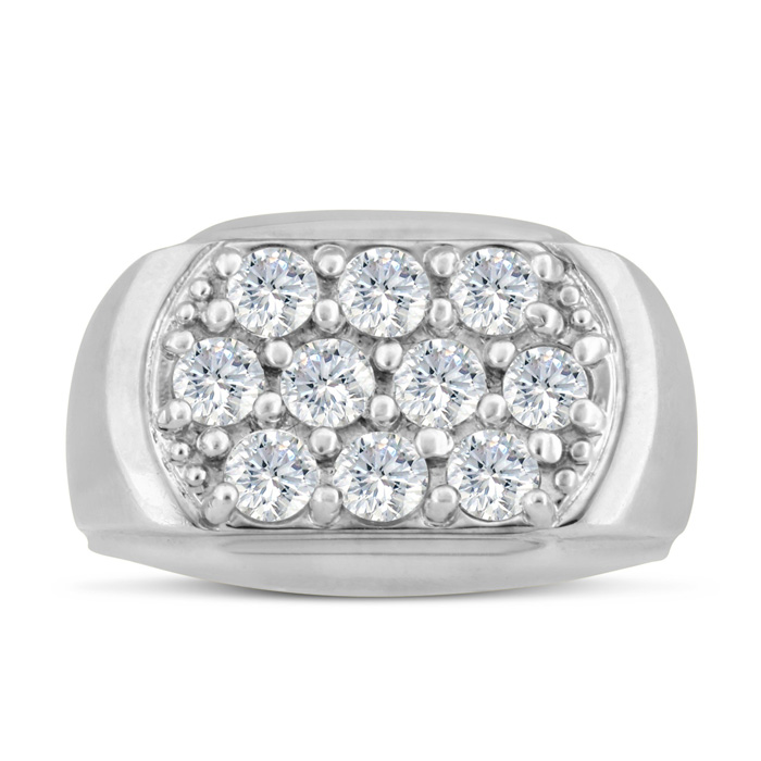 Mens 2 Carat Diamond Wedding Band in 10K White Gold, G-H, I2-I3, 14.43mm Wide by SuperJeweler
