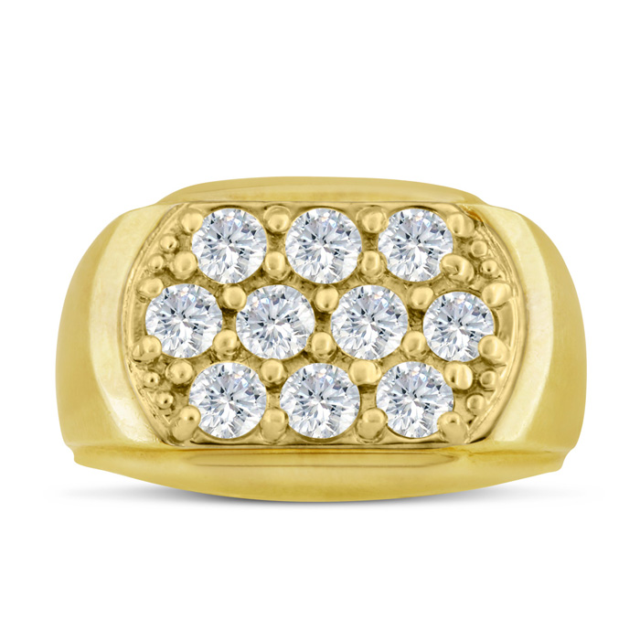 Mens 2 Carat Diamond Wedding Band in 10K Yellow Gold, G-H, I2-I3,