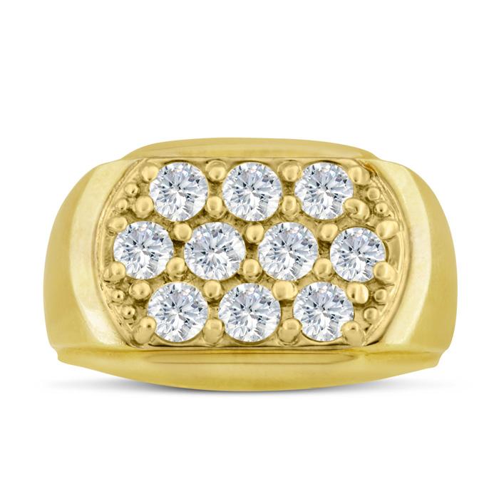 Mens 2 Carat Diamond Wedding Band in 10K Yellow Gold, I-J-K, I1-I