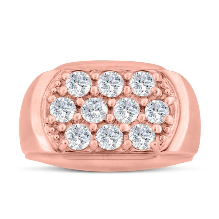 Mens 2 Carat Diamond Wedding Band in 14K Rose Gold, I-J-K, I1-I2,