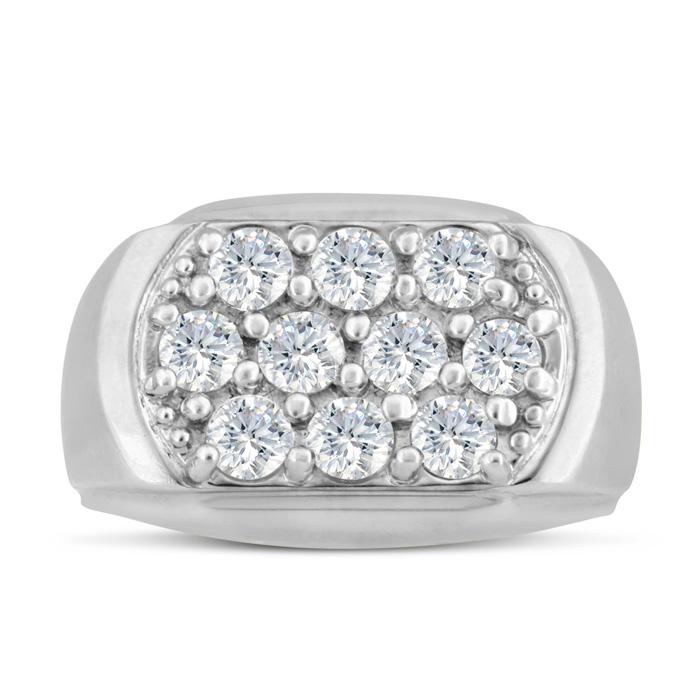 Mens 2 Carat Diamond Wedding Band in 14K White Gold, G-H, I2-I3,