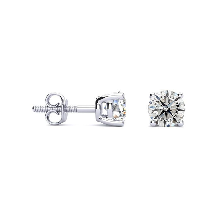 1 Carat Diamond Stud Earrings in 14k White Gold, H/I Color I1-I2