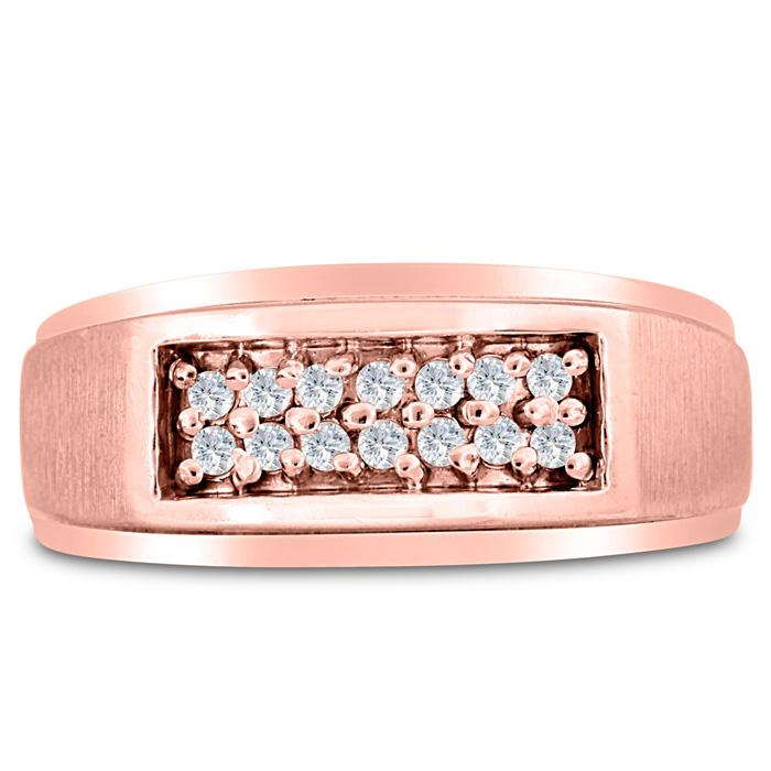 Mens 1/4 Carat Diamond Wedding Band in 10K Rose Gold, I-J-K, I1-I2, 9.52mm Wide by SuperJeweler