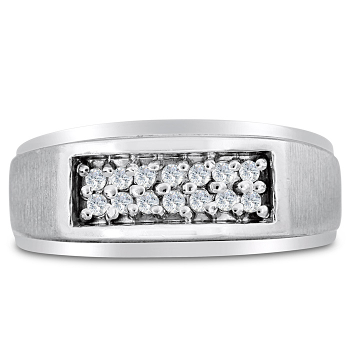 Mens 1/4 Carat Diamond Wedding Band in 10K White Gold, I-J-K, I1-