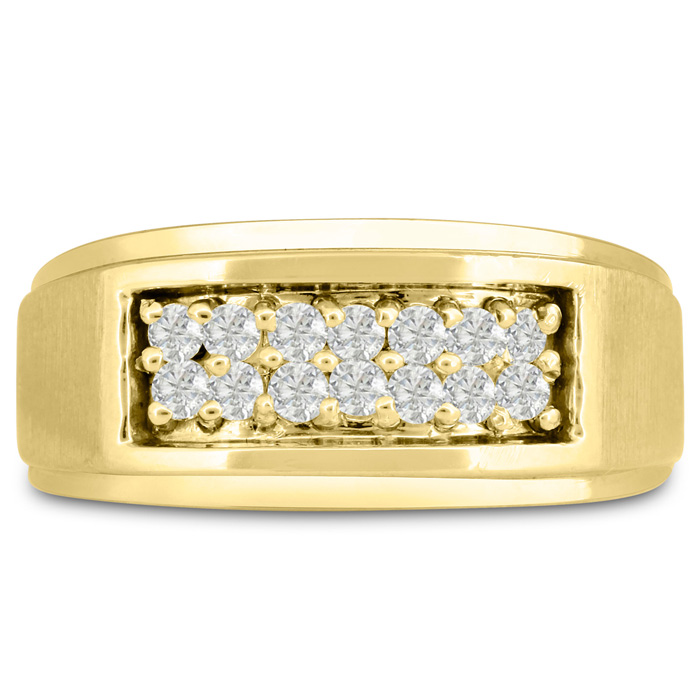 Mens 1/2 Carat Diamond Wedding Band in 14K Yellow Gold, G-H, I2-I3, 9.81mm Wide by SuperJeweler