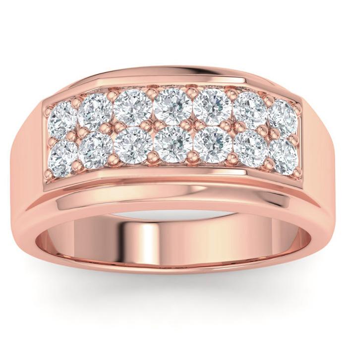 Mens 1 Carat Diamond Wedding Band in 10K Rose Gold, G-H, I2-I3, 10.79mm Wide by SuperJeweler