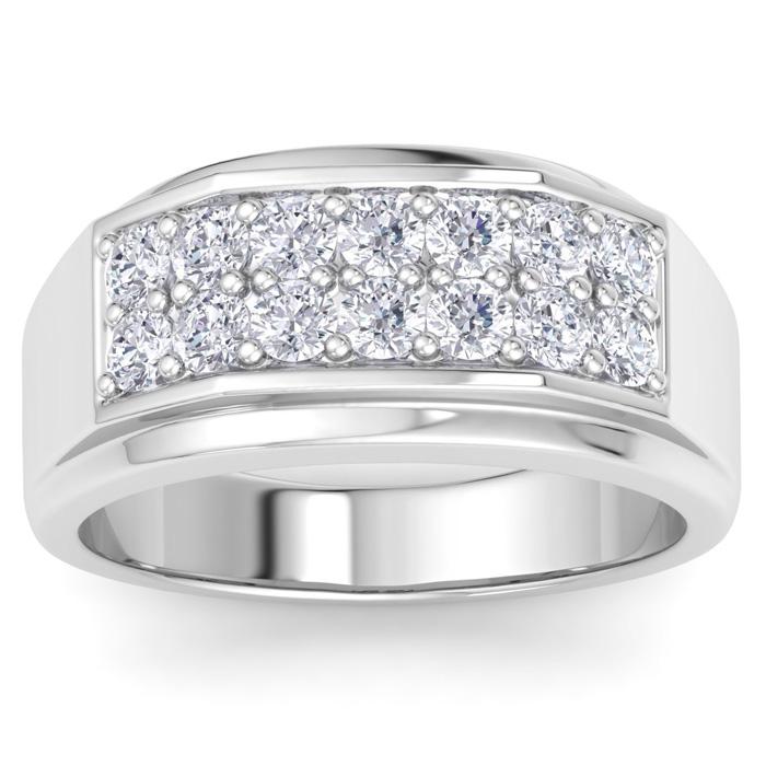 Mens 1 Carat Diamond Wedding Band in 10K White Gold, G-H, I2-I3, 10.79mm Wide by SuperJeweler