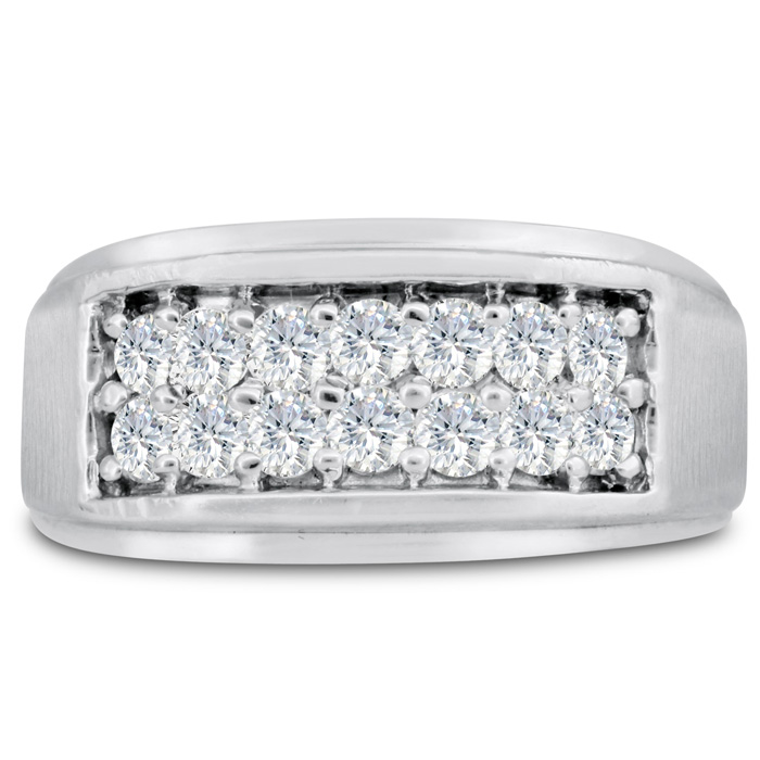 Mens 1 Carat Diamond Wedding Band in 10K White Gold, I-J-K, I1-I2, 10.79mm Wide by SuperJeweler