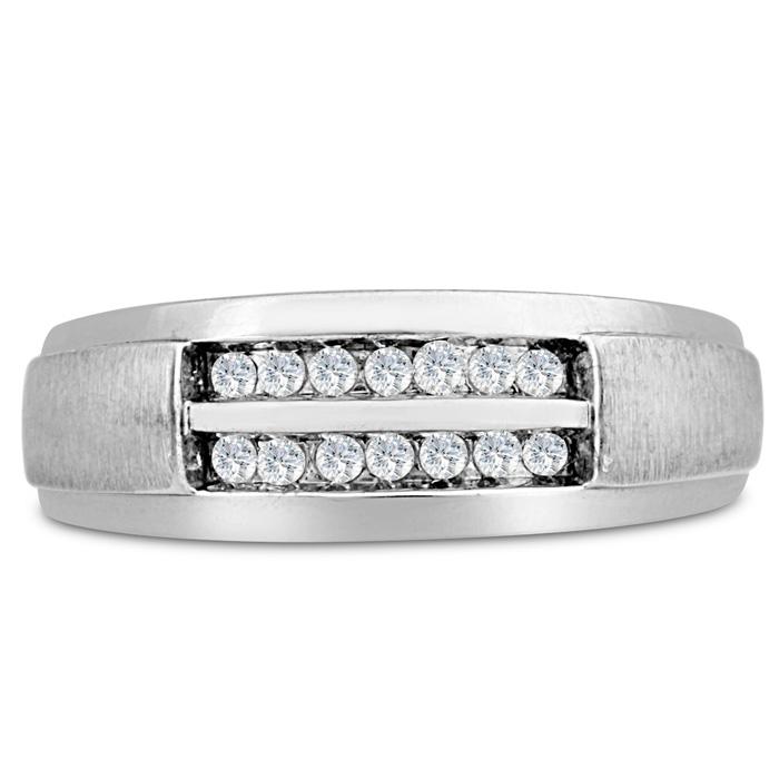 Mens 1/4 Carat Diamond Wedding Band in 14K White Gold, I-J-K, I1-I2, 7.83mm Wide by SuperJeweler