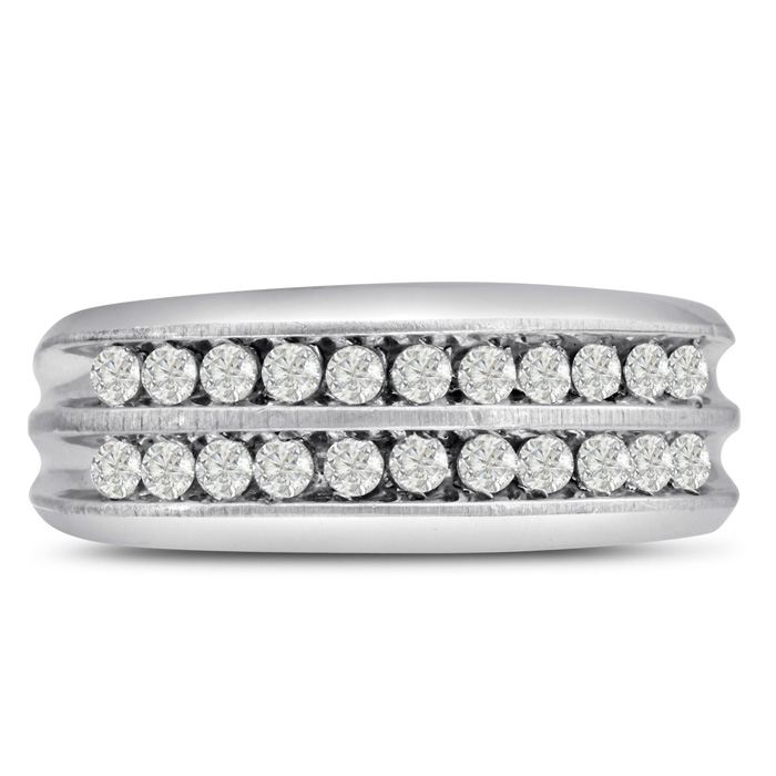 Mens 2/3 Carat Diamond Wedding Band in 10K White Gold, I-J-K, I1-