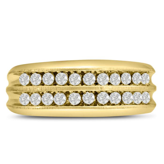 Mens 2/3 Carat Diamond Wedding Band in 10K Yellow Gold, I-J-K, I1