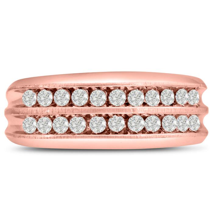 Mens 2/3 Carat Diamond Wedding Band in 14K Rose Gold, G-H, I2-I3,