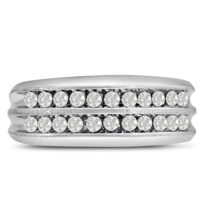 Mens 2/3 Carat Diamond Wedding Band in 14K White Gold, G-H, I2-I3
