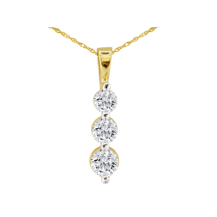 1/8 Carat Three Diamond Drop Style Diamond Pendant Necklace in 10k Yellow Gold, J/K, 18 Inch Chain by SuperJeweler